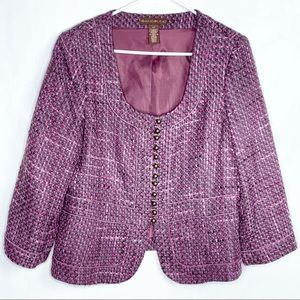 Bandolino Amethyst Tweed Blazer With Piping